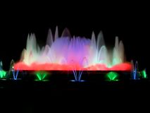 Colorful magic fountain Stock Photos