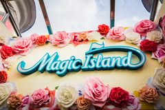 Colorful Magic Island sign just above the escalators leading to the Magic Island royalty free stock photography