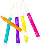 Colorful magic pens. Illustration of isolated colorful magic pens on white Stock Photography