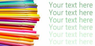 Colorful magic pens. Multicolored Pens draw line, Tour text here Royalty Free Stock Photo