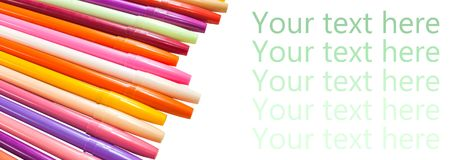 Colorful magic pens. Multicolored Pens draw line, Tour text here Stock Image