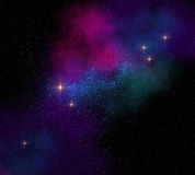 Colorful magical starfield on dark space illustration Royalty Free Stock Images