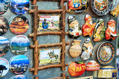 Colorful magnet souvenirs in market in Almaty, Kazakhstan. ALMATY, KAZAKHSTAN - MARCH 10, 2014: Colorful magnet souvenirs in market in Kok-tobe park, Almaty Royalty Free Stock Photos