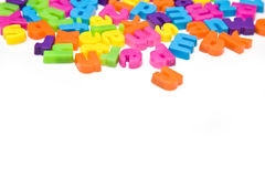 Colorful Magnetic Letters. A view of colorful magnetic letters, isolated on a white background Stock Photography