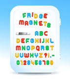 Colorful magnetic letters on refrigerator. Colorful magnetic alphabet letters on refrigerator door, vector illustration Royalty Free Stock Photography