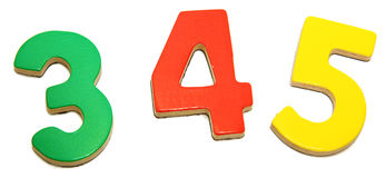 Colorful Magnetic Numbers 3 4 5 Royalty Free Stock Photos
