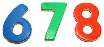 Colorful Magnetic Numbers 6 7 8 Royalty Free Stock Photography