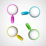 Colorful Magnifying Glass Set. Vector 3d Blue, Pink, Yellow and Green Magnifying Glass Set Stock Photos