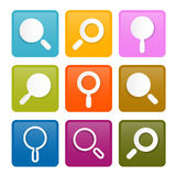 Colorful Magnifying Glass Square Icons Set Royalty Free Stock Photo