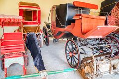 Colorful maharajas` coaches in Jaipur palace. Close up bright carriages used by maharajas on display in Indian pale in Jaipur royalty free stock images