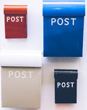 Colorful mail boxes. Of various sizes stock photography