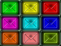 Colorful mail envelopes. A background of colorful illustrations of mail envelopes Stock Photography