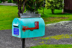 Colorful mailbox in Queen Charlotte Road, New Zealand Stock Image