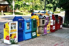 Colorful mailboxes Royalty Free Stock Images