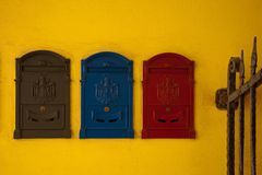 Colorful mailboxes Royalty Free Stock Image