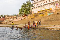 Colorful main ghat in varanasi Royalty Free Stock Images
