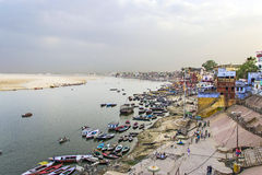 Colorful main ghat in varanasi Stock Photography