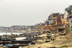 Colorful main ghat in varanasi Royalty Free Stock Image