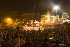 Colorful main ghat in varanasi by Royalty Free Stock Photos