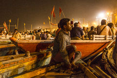 Colorful main ghat in varanasi by Royalty Free Stock Photo