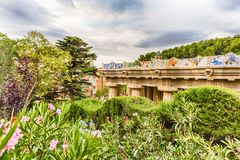 Colorful main terrace of Park Guell, Barcelona, Catalonia, Spain Stock Image