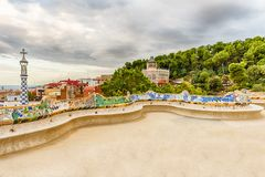 Colorful main terrace of Park Guell, Barcelona, Catalonia, Spain Royalty Free Stock Images