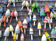 Colorful Maine Lobster Buoys. Colorful Lobster Buoys on the side of a fishing shack in Stonington, Maine Royalty Free Stock Photos