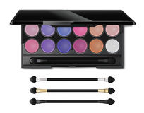 Colorful make up cosmetic eyeshadow palette and blushes, vector. Stock Image