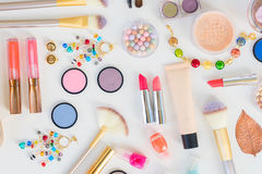 Colorful make up flat lay scene Stock Images