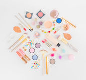 Colorful make up flat lay scene Royalty Free Stock Photography