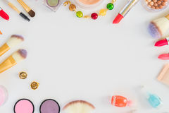 Colorful make up flat lay scene Royalty Free Stock Photo