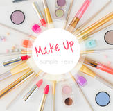 Colorful make up flat lay scene Royalty Free Stock Images