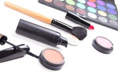 Colorful make-up products isolated on white Stock Photo