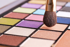 Colorful make up set and brush Stock Image