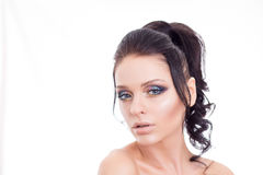Colorful make-up woman face, beautiful brunette summer makeup, beauty fashion girl model with pink lips.  Stock Images
