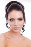 Colorful make-up woman face, beautiful brunette summer makeup, beauty fashion girl model with pink lips Stock Images