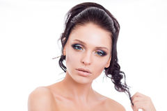 Colorful make-up woman face, beautiful brunette summer makeup, beauty fashion girl model with pink lips Royalty Free Stock Images