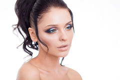 Colorful make-up woman face, beautiful brunette summer makeup, beauty fashion girl model with pink lips.  Stock Image