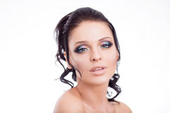 Colorful make-up woman face, beautiful brunette summer makeup, beauty fashion girl model with pink lips.  Stock Photos