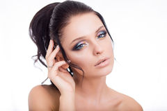 Colorful make-up woman face, beautiful brunette summer makeup, beauty fashion girl model with pink lips.  Royalty Free Stock Images