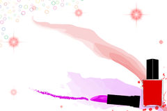Colorful makeup background with lipstick and nail polish. Red glittering and bubble decoration. Eps10 royalty free illustration