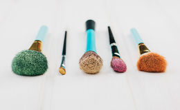 Colorful makeup brushes stock photo