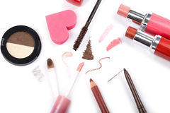 Colorful makeup collection isolated Royalty Free Stock Images