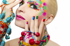 Colorful makeup and manicure. Royalty Free Stock Image