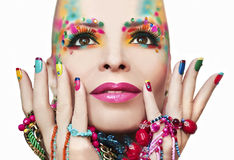 Colorful makeup and manicure. Royalty Free Stock Photo