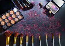 Colorful makeup palette with makeup brush Royalty Free Stock Photo