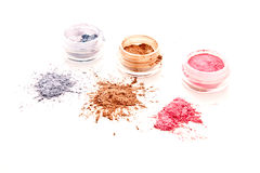 Colorful makeup powder set. On white background Stock Photo