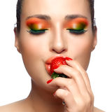 Colorful Makeup. Strawberry Stock Images