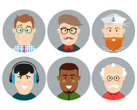 Colorful Male Faces Circle Icons Set in Trendy Flat Style Royalty Free Stock Photos