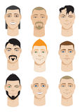 Colorful Male Faces Stock Photo